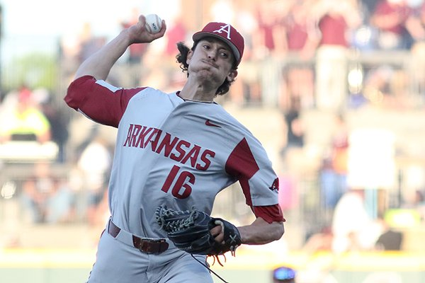 Arkansas pitcher Blaine Knight (16) pitches during the first inning of their NCAA college baseball game against Mississippi State in Starkville, Miss., Friday, April 20, 2018.
