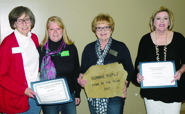 receiving-awards-from-the-faulkner-county-master-gardeners-are-from-left-cherry-childs-and-debbie-guthrie-co-chairwomen-of-the-legacy-gardens-project-which-was-named-the-2017-project-of-the-year-sunnie-ruple-who-was-named-faulkner-county-master-gardener-of-the-year-for-2017-and-mary-ellen-mcmoran-who-along-with-travis-sellers-each-received-a-friend-of-faulkner-county-master-gardeners-certificate