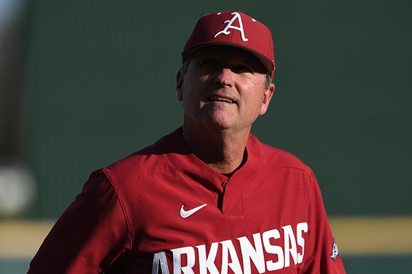 Arkansas coach Dave Van Horn glances into the stands prior to the Razorbacks' 11-7 win over Missouri State at Baum Stadium  on April 17, 2018.