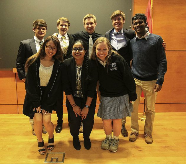 student-winners-of-the-stephens-awards-are-back-row-left-to-right-harrison-scott-brown-spencer-davis-joshua-david-bucher-nicholas-powell-and-anil-chakka-and-front-row-left-to-right-jua-jung-sarah-tariq-and-mary-kathryn-strickland-the-awards-are-provided-by-the-city-education-trust-formed-by-jackson-t-stephens-and-wr-witt-stephens-in-1985
