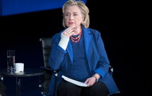 """FILE - In this April 13, 2018 file photo, Hillary Clinton speaks during the ninth annual Women in the World Summit in New York. Clinton says press rights and free speech are """"under open assault"""" under Donald Trump, and has likened his administration to an authoritarian regime. In a lecture on freedom of speech Sunday, April 22, the former secretary of state minced no words as she decried what she called """"an all-out war on truth, facts and reason."""" (AP Photo/Mary Altaffer, File)"""