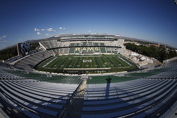 Colorado State's new stadium is shown before hosting Oregon State on Saturday, Aug. 26, 2017, in Fort Collins, Colo. (AP Photo/David Zalubowski)
