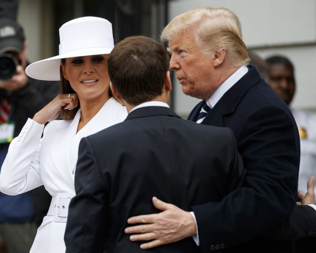 president-donald-trump-and-first-lady-melania-trump-greet-french-president-emmanuel-macron-as-he-arrives-for-a-state-arrival-ceremony-on-the-south-lawn-of-the-white-house-in-washington-tuesday-april-24-2018-ap-photocarolyn-kaster