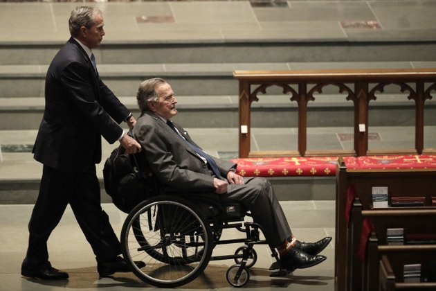 former-presidents-george-w-bush-left-and-george-hw-bush-arrive-at-st-martins-episcopal-church-for-a-funeral-service-for-former-first-lady-barbara-bush-saturday-april-21-2018-in-houston