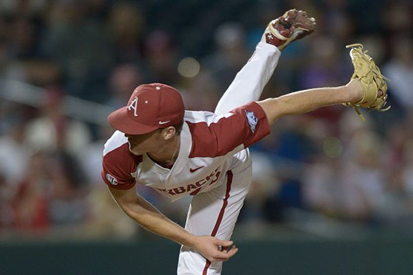 Arkansas pitcher Barrett Loseke throws during a game against Texas Tech on Tuesday, April 24, 2018, in Fayetteville.