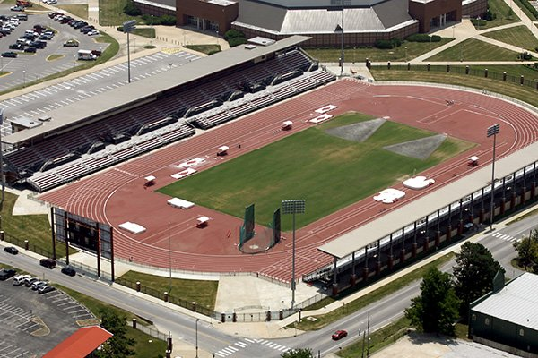 This aerial photo shows John McDonnell Field on the University of Arkansas campus in Fayetteville on Tuesday, June 21, 2016.