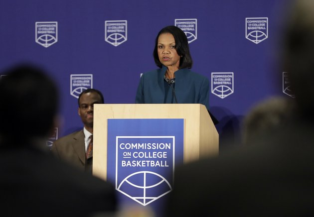 former-us-secretary-of-state-condoleezza-rice-speaks-during-a-news-conference-at-the-ncaa-headquarters-wednesday-april-25-2018-in-indianapolis-the-commission-on-college-basketball-led-by-rice-released-a-detailed-60-page-report-wednesday-seven-months-after-the-ncaa-formed-the-group-to-respond-to-a-federal-corruption-investigation-that-rocked-college-basketball-ap-photodarron-cummings