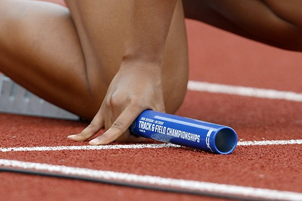 A relay baton is seen at the NCAA outdoor track and field championships in Eugene, Ore., Thursday, June 9, 2016. (AP Photo/Ryan Kang)