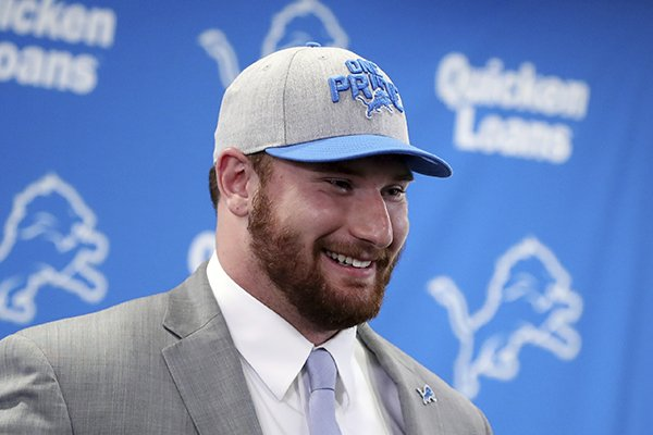 The Detroit Lions first-round NFL football draft pick Frank Ragnow addresses the media at the team's training facility, Friday, April 27, 2018, in Allen Park, Mich. (AP Photo/Carlos Osorio)