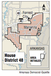 A map showing the location of House District 48