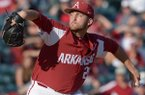 Arkansas pitcher Kacey Murphy throws during a game against Alabama on Saturday, April 28, 2018, in Fayetteville.