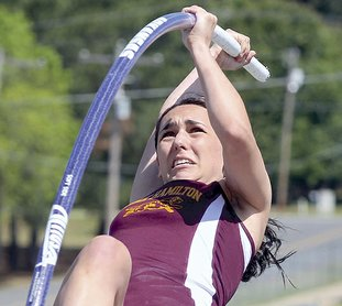 Lake Hamilton's Edie Murray competes in the pole vault event during the 6A-South track meet at Lake Hamilton Friday, April, 27, 2018. Murray won the event. (The Sentinel-Record/Richard Rasmussen)