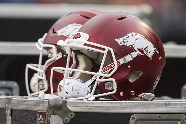 arkansas-football-helmets-sit-atop-storage-bins-during-a-game-against-mississippi-state-on-saturday-nov-18-2017-in-fayetteville