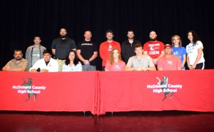 RICK PECK/SPECIAL TO MCDONALD COUNTY PRESS Teammates since fourth grade, both Isrrael De Santiago (front row, second from left) and Cole DelosSantos (front row, second from right) signed letters of intent to attend Westminster College in Fulton, Mo. on April 23 at MCHS. Front row, left to right: Rudy De Santiago, Isrrael De Santiago, Martha De Santiago, Christy DelosSantos, Cole DelosSantos and Fermin DelosSantos. Back row: Daniel De Santiago (brother),Craig Collins, Sean McCullough, Kellen Hoover, Kanon Hoover, Daniel Sumler, (MCHS football coaches) Ariel DelosSantos and Madison DelosSantos (sisters).
