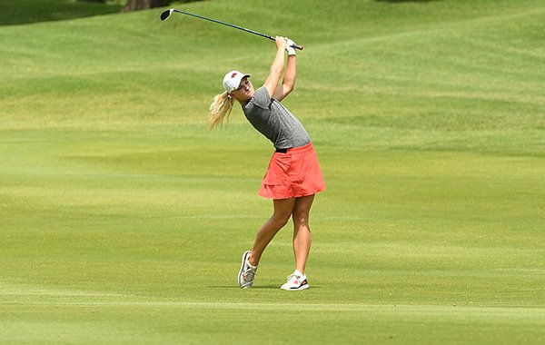Arkansas golfer Alana Uriell hits an approach shot on the sixth hole during the first round of the LPGA Wal-Mart NW Arkansas Championship on Friday, June 23, 2017, at Pinnacle Country Club in Rogers.