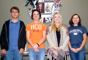 Photo submitted Two teams of Siloam Springs High School placed first and second in the region in the Arkansas Stock Market Game. Pictured (from left) are students Johnathan Craddock, Elijah Coffey, Hayley DeFoe and Maggie Buck-Mallow. Not pictured are students Madison Osbourn and Jordan Church.