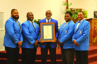 Rho Phi Sigma  Shown are the charter members of the Rho Phi Sigma Alumni Chapter of Camden. Pictured from left are Joseph Jordan, Fred Lilly Jr, Lowell Sanders, Xavier Broughton and Mark Anthony Green.