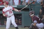 Arkansas second baseman Carson Shaddy hits a home run during the first inning of a game against Texas A&M on Friday, May 11, 2018, in Fayetteville.