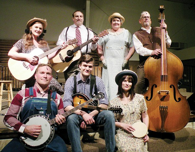 red-curtain-theatre-will-present-the-bluegrass-gospel-musical-smoke-on-the-mountain-at-various-locations-through-june-9-members-of-the-cast-include-front-row-from-left-johnny-passmore-who-appears-as-cletus-sanders-joe-coker-as-dennis-sanders-and-alisa-harral-kindsfater-as-june-sanders-and-back-row-logan-dena-evans-as-denise-sanders-ron-cate-as-burl-sanders-liz-parker-as-vera-sanders-and-kent-britton-as-stanley-sanders
