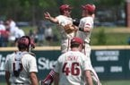 Players celebrated following the final out of Arkansas' 6-3 win over Texas A&M Sunday May 13, 2018 at Baum Stadium in Fayetteville.