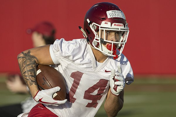 maleek-barkley-runs-a-drill-thursday-march-1-2018-during-arkansas-spring-football-practice-at-the-fred-w-smith-football-center-in-fayetteville