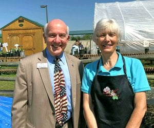 Photo Submitted Mayor Christie visits with Cathy Downard, Plant Sale Chairman, on the success of the BVGC's annual plant sale.