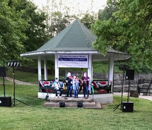 """Jackie Brooks/Herald-Leader """"Fiddles in the Middle"""" were the featured performers at the inaugural Second Saturday Music of the season on Saturday. Band members are Kathy Sutterfield, Richey McCusker, and Bill and Deanna Lisk. The next concert is planned for June 9 at the Twin Springs Gazebo Park."""