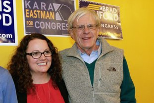 The Associated Press CHALLENGE: In this April 5, 2018, photo, Kara Eastman and Brad Ashford, two Democrats vying to challenge 2nd District House incumbent Don Bacon, R-Neb., pose for a photo in Omaha, Neb. Democratic and independent voters will pick one as the party's nominee in the Tuesday, May 15, primary election.