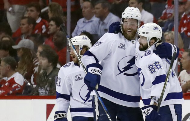 tampa-bay-lightning-center-brayden-point-left-defenseman-victor-hedman-77-from-sweden-and-right-wing-nikita-kucherov-86-from-russia-celebrate-kucherovs-goal-during-the-second-period-of-game-3-of-the-nhl-eastern-conference-finals-hockey-playoff-series-against-the-washington-capitals-tuesday-may-15-2018-in-washington-ap-photoalex-brandon