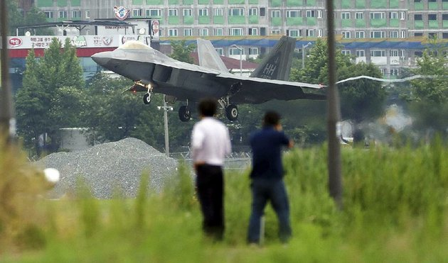 a-us-f-22-stealth-fighter-lands-wednesday-at-an-air-base-in-gwangju-south-korea-during-us-south-korean-military-exercises-that-north-koreas-news-agency-called-an-intended-military-provocation