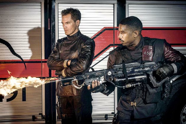 fahrenheit-451-ray-bradburys-classic-dystopian-novel-has-been-adapted-in-a-new-film-by-hbo-and-stars-michael-shannon-left-and-michael-b-jordan-as-firemen-whose-job-it-is-to-burn-all-books