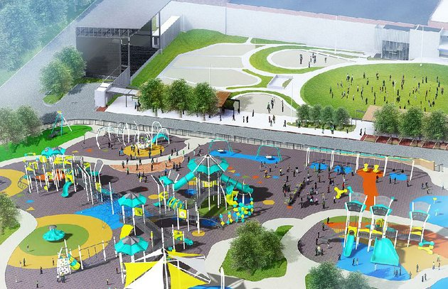 artists-renderings-show-the-new-murphy-arts-district-playscape-in-el-dorado-from-above-shown-and-focusing-on-the-water-feature