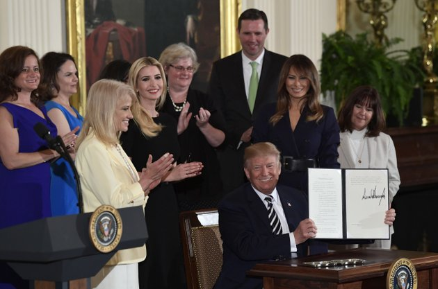 in-this-may-9-2018-photo-president-donald-trump-holds-up-an-executive-order-he-signed-as-he-is-surrounded-by-first-lady-melania-trump-second-from-right-karen-pence-right-white-house-counselor-kellyanne-conway-third-from-left-ivanka-trump-fourth-from-left-and-others-during-a-celebration-of-military-mothers-and-spouses-event-in-the-east-room-of-the-white-house-in-washington-the-house-is-set-to-give-veterans-more-leeway-to-see-doctors-outside-the-department-of-veterans-affairs-health-system-its-part-of-an-effort-to-fulfill-president-donald-trumps-promise-to-expand-private-care-for-veterans-the-long-awaited-plan-is-set-for-a-house-vote-later-wednesday-ap-photosusan-walsh