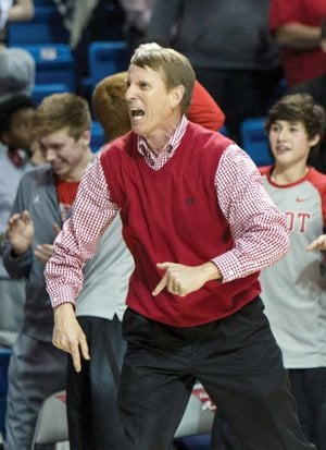 Cabot Panthers basketball coach Jerry Bridges gets excited during the 2016 Class 7A state-championship game, when his team beat Bentonville for the school's only state title in boys basketball. Bridges recently announced his retirement after 14 years at Cabot and 33 years in education.