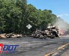 Fiery truck wreck on I-30
