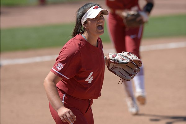 Arkansas starter Mary Haff (4) celebrates the final out Saturday, May 19, 2018, during the seventh inning against Wichita State at Bogle Park during the NCAA Fayetteville Softball Regional on the university campus in Fayetteville.