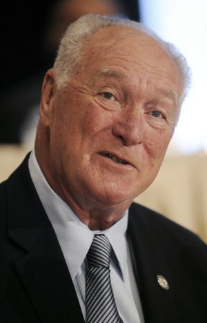This Dec. 9, 2008, file photo shows former LSU football player Billy Cannon looking on during at the National Football Foundation Hall of Fame news conference, in New York. Cannon, the gifted running back who won the Heisman Trophy for LSU in 1959 with a memorable Halloween night punt return touchdown against Mississippi, died Sunday, May 20, 2018. He was 80. LSU said Cannon, the school's only Heisman winner, died at his home in St. Francisville, La. The cause of death was not immediately known. (AP Photo/Richard Drew, File)