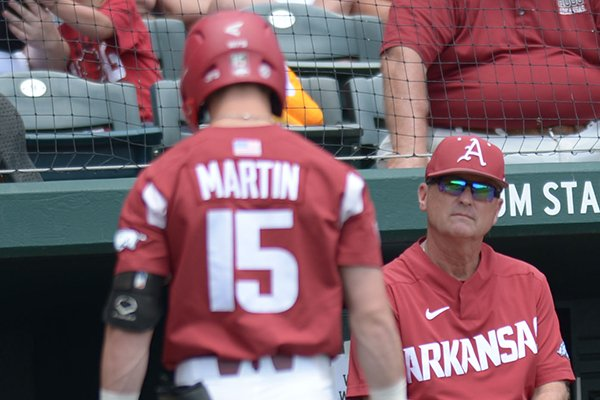 Arkansas Texas A&M Saturday, May 12, 2018, during the inning at Baum Stadium in Fayetteville.