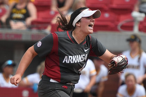Arkansas' Mary Haff reacts after beating Wichita State Sunday May 20, 2018 during the NCAA Regional Softball Tournament at Bogle Park in Fayetteville. Arkansas won 6-4.