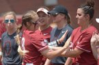 Arkansas players go through introductions Saturday, May 19, 2018, during the inning at Bogle Park at the NCAA Fayetteville Softball Regional on the university campus in Fayetteville.