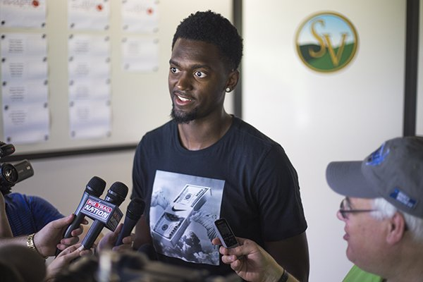Former Arkansas basketball player and Chicago Bulls power forward Bobby Portis speaks to reporters during a press conference, Monday, May 21, 2018 at Shadow Valley Country Club in Rogers.