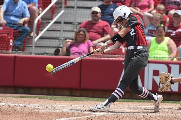 Arkansas' A.J. Belans connects with a pitch during an NCAA regional game against Wichita State on Sunday, May 20, 2018, at Bogle Park in Fayetteville. Arkansas won 6-4.