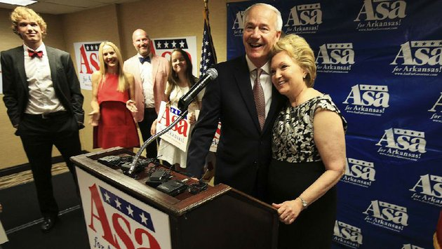 gov-asa-hutchinson-celebrates-tuesday-night-with-his-wife-susan-hutchinson-and-family-members-at-a-watch-party-in-little-rock