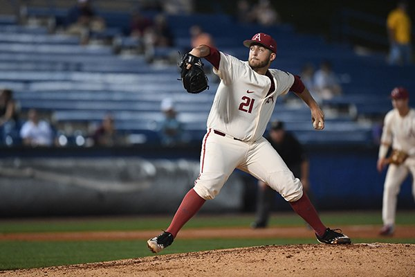 Arkansas pitcher Kacey Murphy throws during an SEC Tournament game against South Carolina on Wednesday, May 23, 2018, in Hoover, Ala.