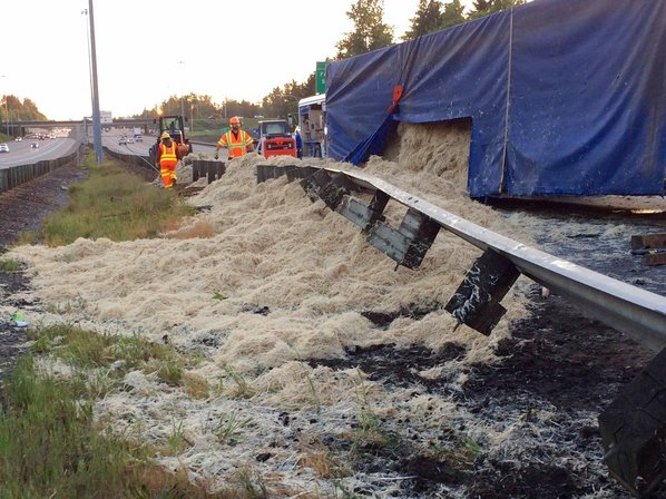 Truck dumps 18 000kg of chicken feathers on highway