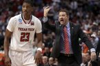 Texas Tech's Jarrett Culver (23) runs up court as head coach Chris Beard, right, gives instructions in the second half of a second-round game against Florida at the NCAA men's college basketball tournament in Dallas, Saturday, March 17, 2018. (AP Photo/Tony Gutierrez)