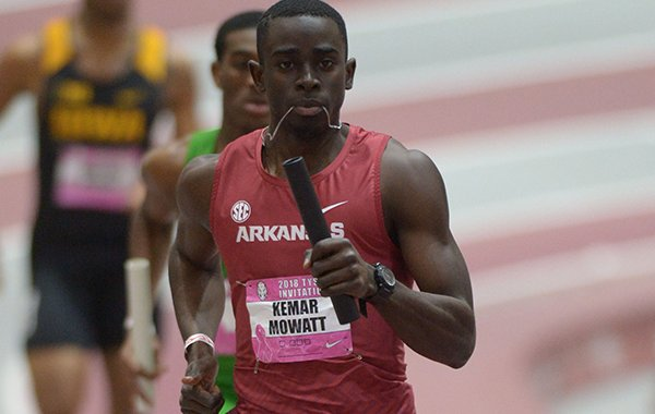 Arkansas' Kemar Mowatt competes in the 4x400-meter relay Saturday, Feb. 10, 2018, during the Tyson Invitational in the Randal Tyson Track Center in Fayetteville.
