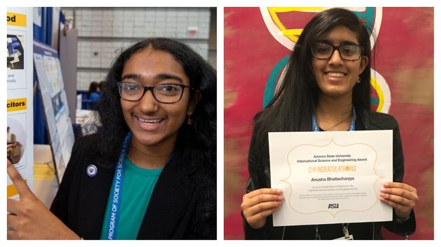 meghana-bollimpalli-left-and-anusha-bhattacharyya-both-little-rock-central-high-school-students-won-awards-for-their-research-at-the-international-science-and-engineering-fair-held-the-week-of-may-13-2018-in-pittsburgh