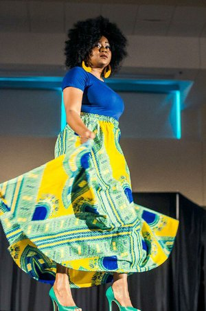 Tickets are on sale for Kurvy Kuties' ninth annual Little Rock Full Figure Fashion Week, to be held June 22-24. A model shows off a colorful ankara skirt and coordinating top during a previous fashion-week showcase.