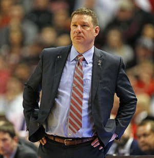 Texas Tech coach Chris Beard watches the game during the second half of an NCAA college basketball game against West Virginia, Saturday, Jan. 13, 2018, in Lubbock, Texas.
